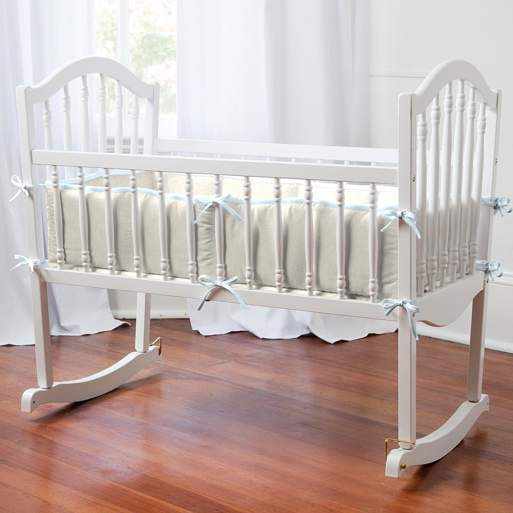 Product image for Light Blue and Flax Linen Cradle Bumper