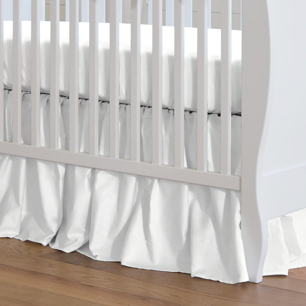 Product image for Solid Antique White Crib Skirt Gathered