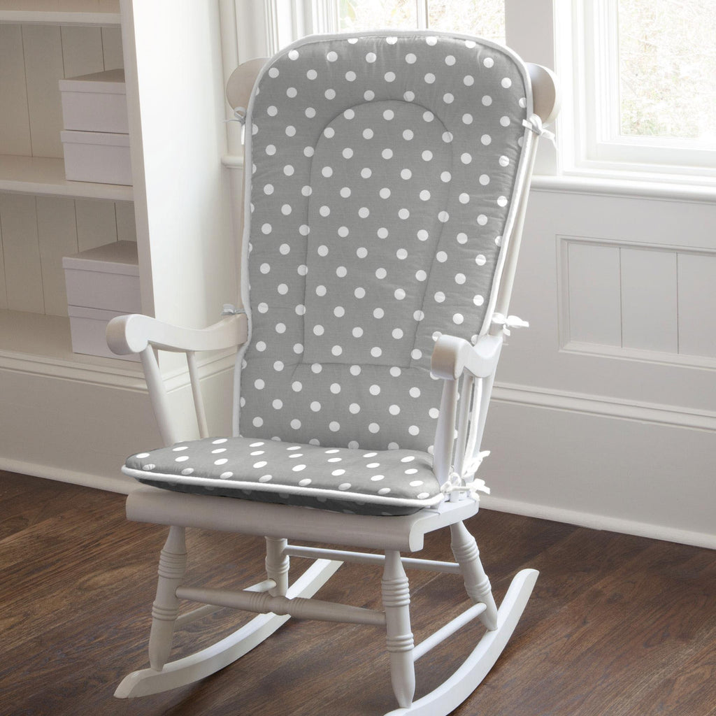 Product image for Gray and White Polka Dot Rocking Chair Pad