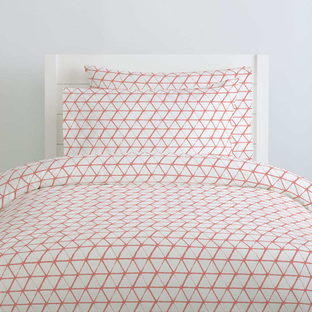Product image for White and Light Coral Aztec Triangles Duvet Cover