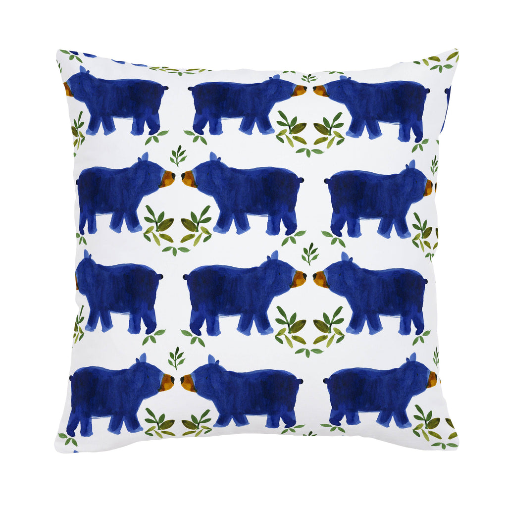 Product image for Blue Woodland Bear Throw Pillow
