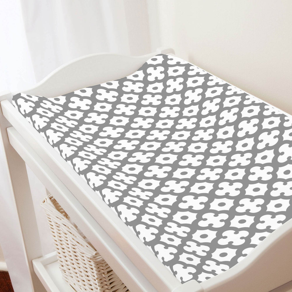 Product image for Cloud Gray Moroccan Tile Changing Pad Cover