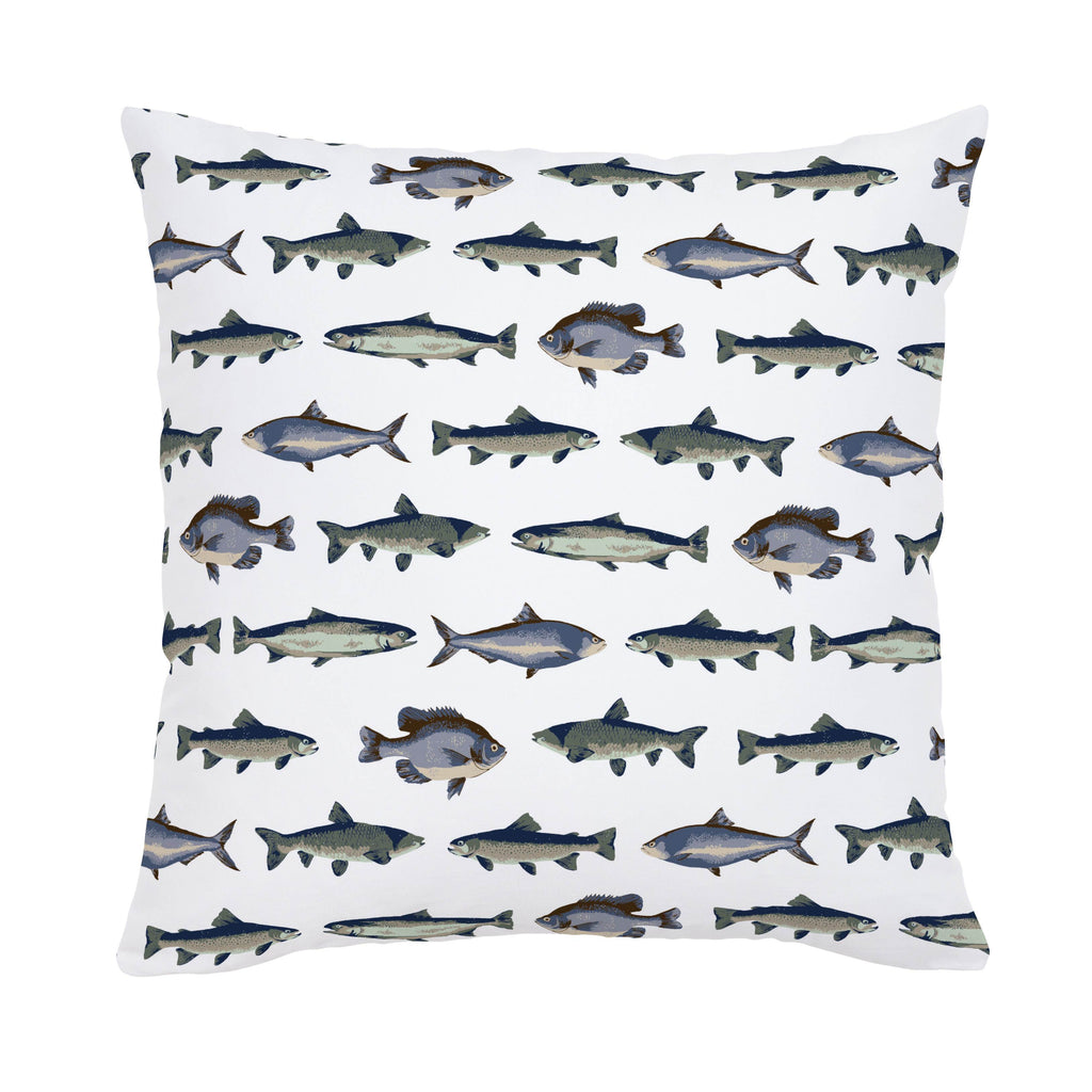 Product image for Navy and Seafoam Fish Throw Pillow