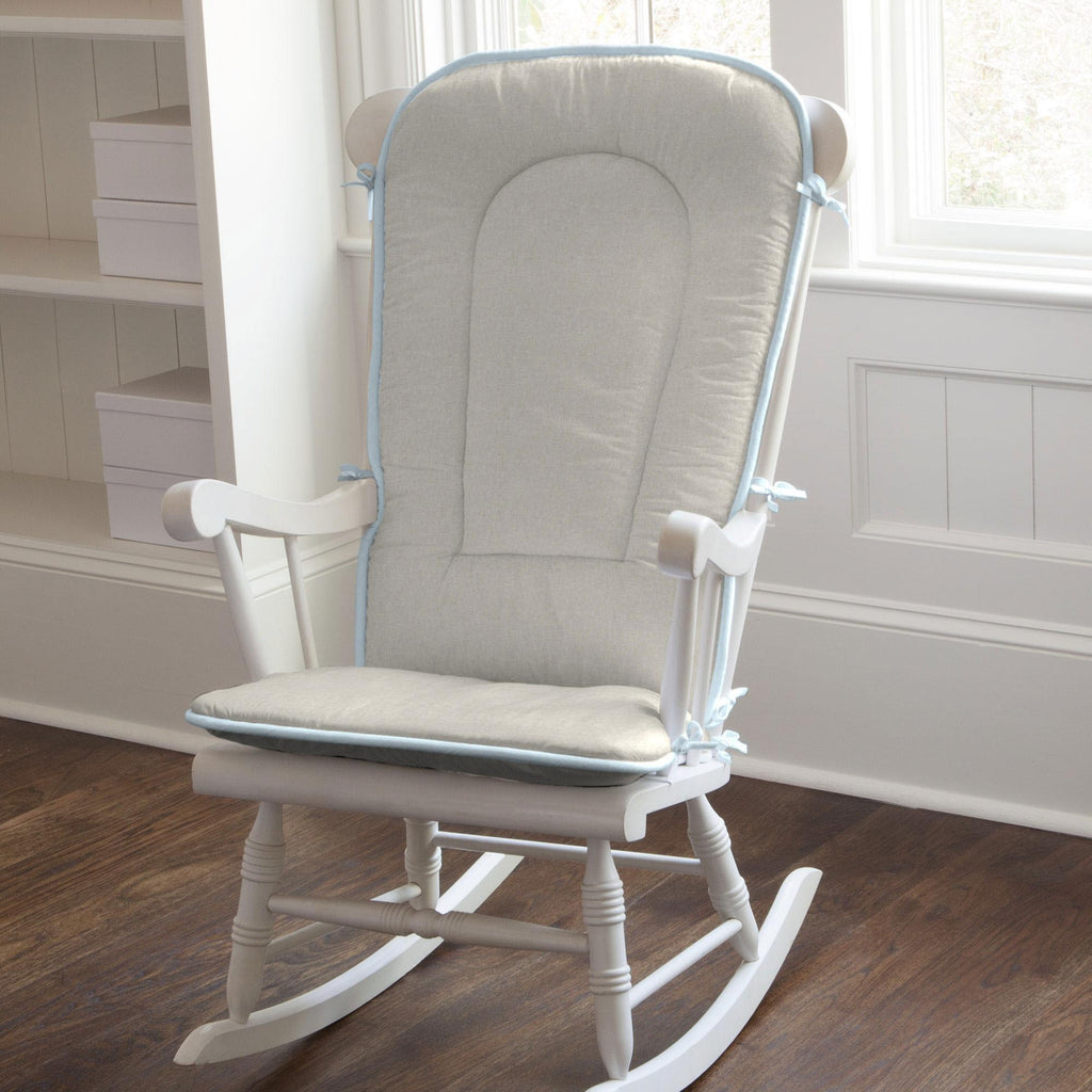 Product image for Light Blue and Flax Linen Rocking Chair Pad