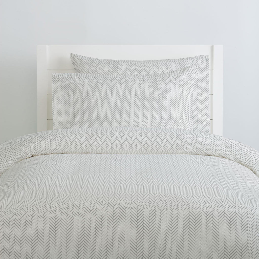 Product image for White and Cloud Gray Classic Herringbone Duvet Cover