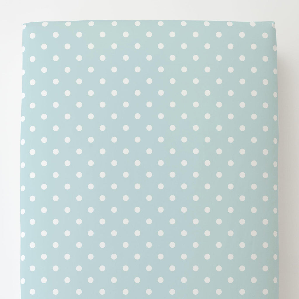 Product image for Mist and White Polka Dot Toddler Sheet Bottom Fitted