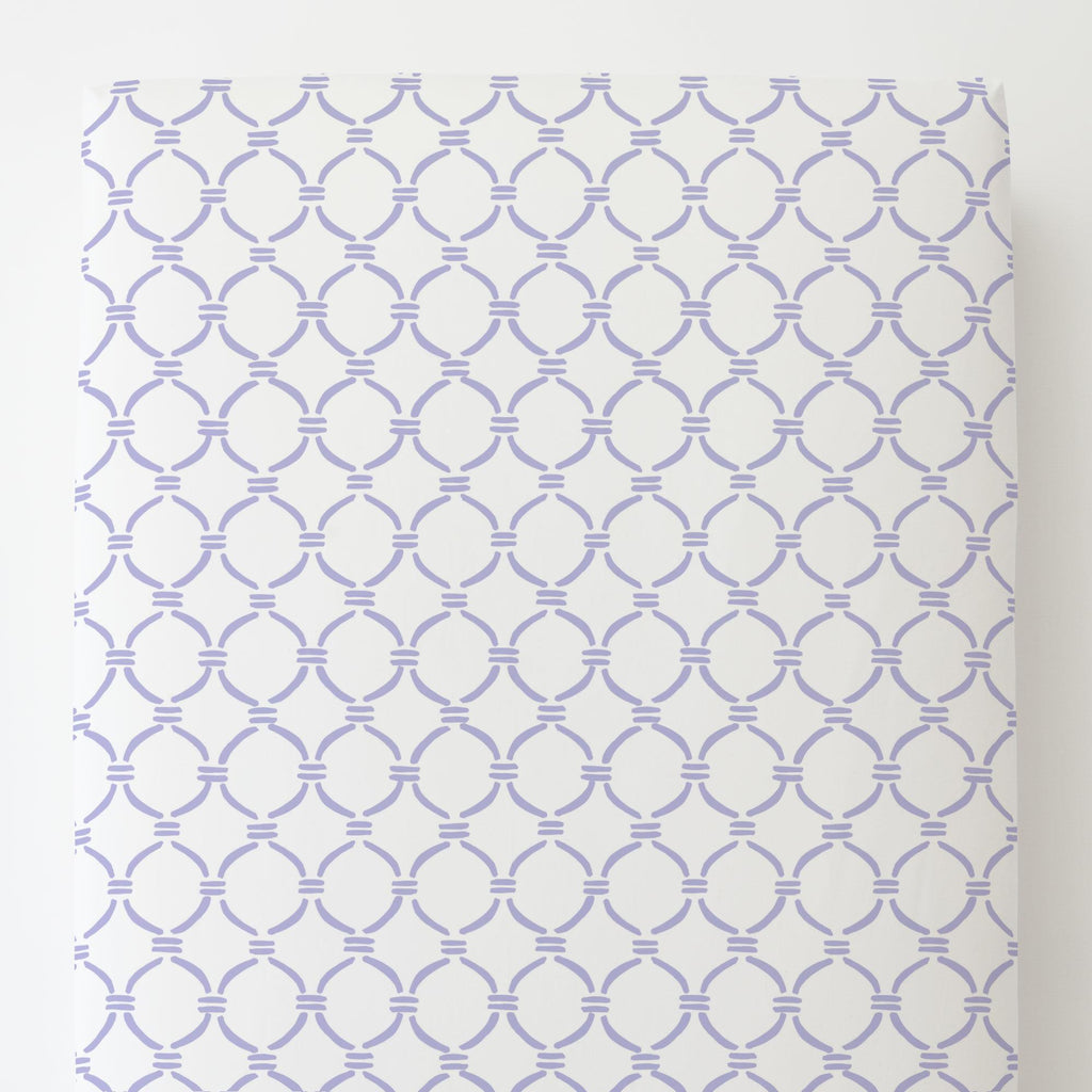 Product image for Lilac Lattice Circles Toddler Sheet Bottom Fitted