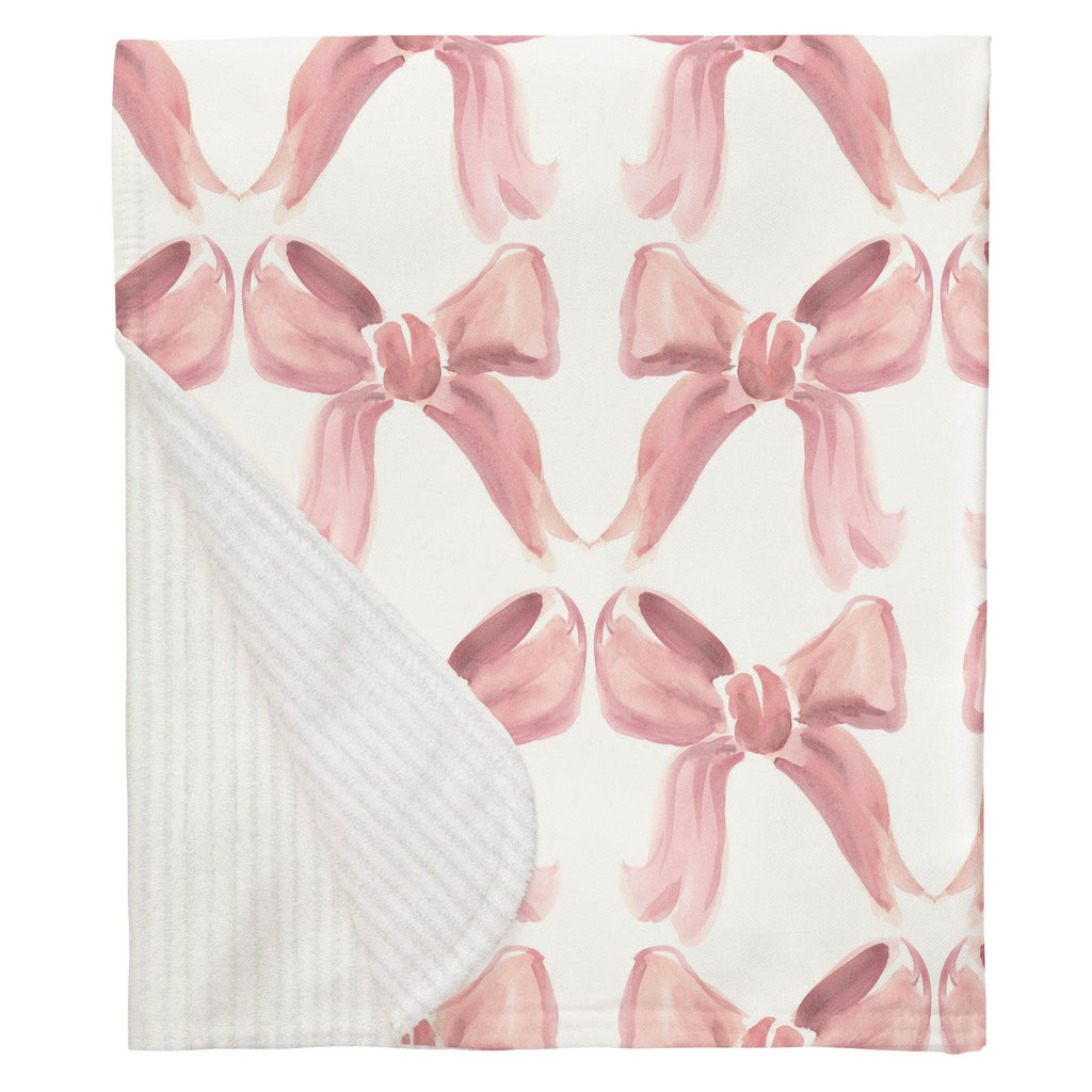 Product image for Pink Watercolor Bows Baby Blanket