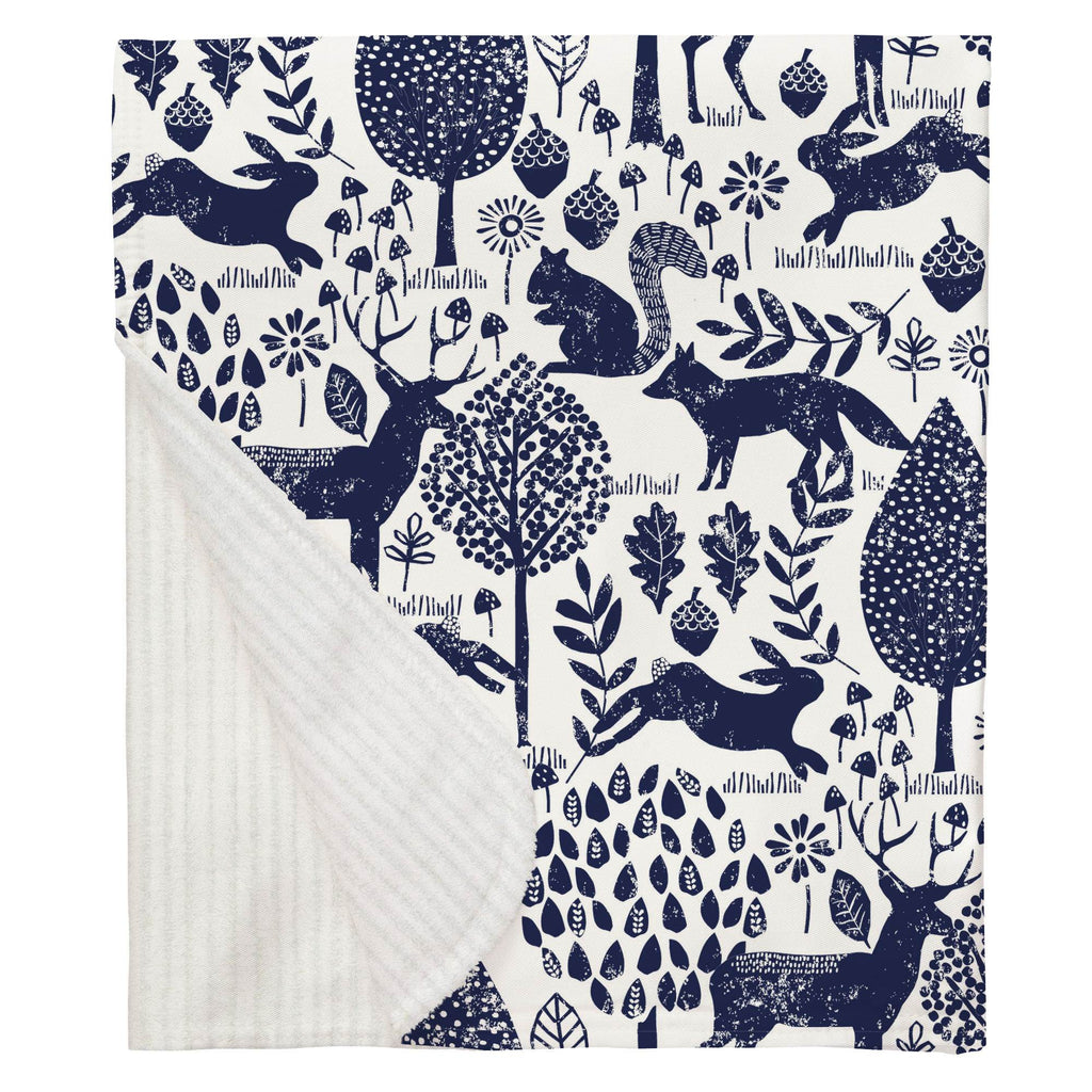 Product image for Navy Woodland Animals Baby Blanket
