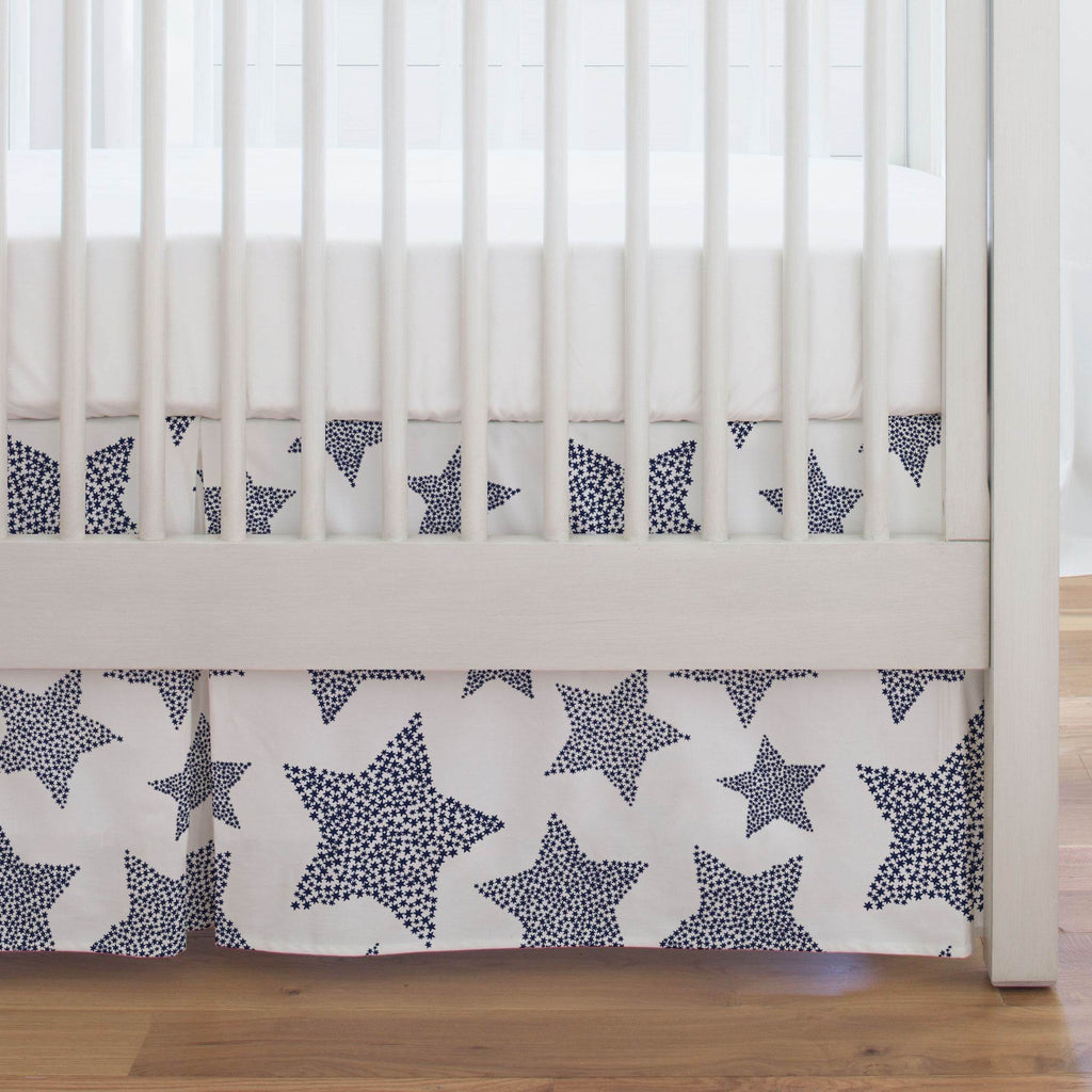 Product image for Navy Galaxy Stars Crib Skirt Single-Pleat