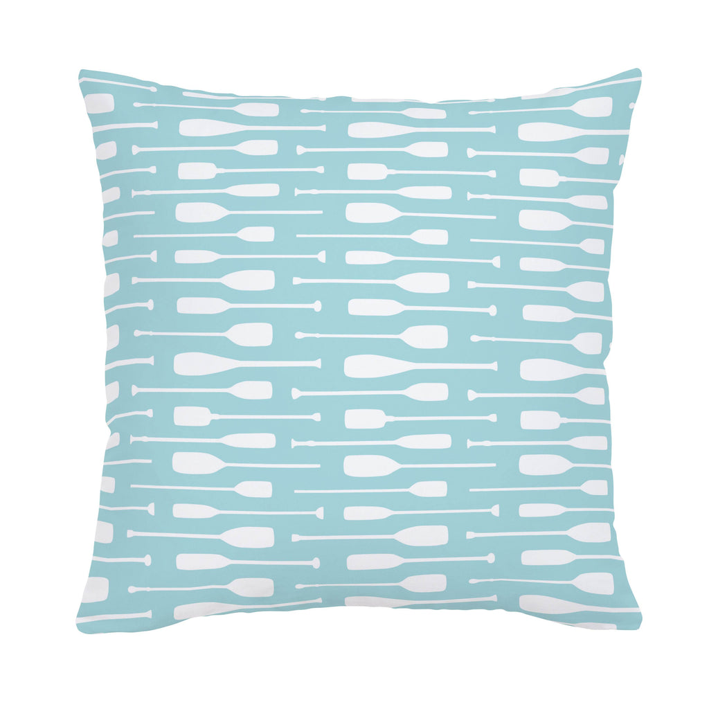 Product image for Seafoam Aqua and White Oars Throw Pillow