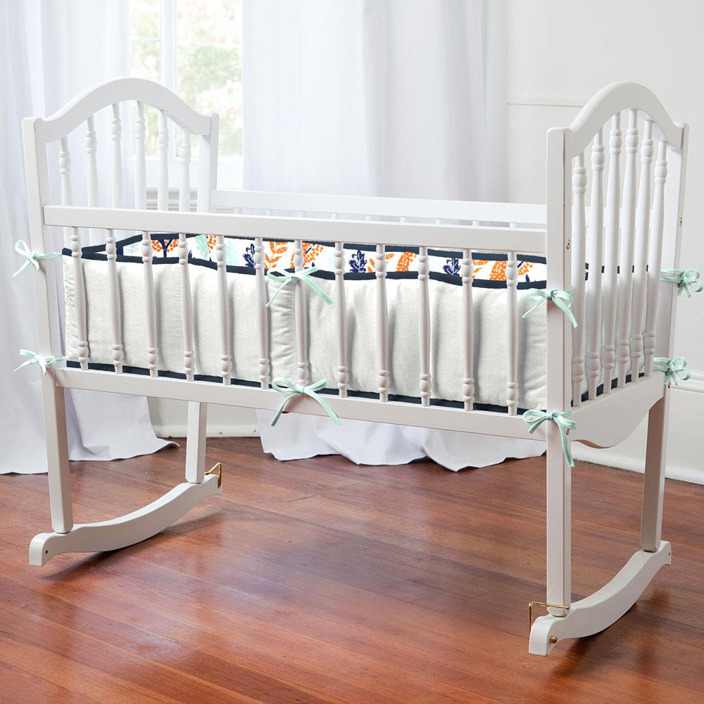 Product image for Navy and Orange Woodland Animals Cradle Bumper