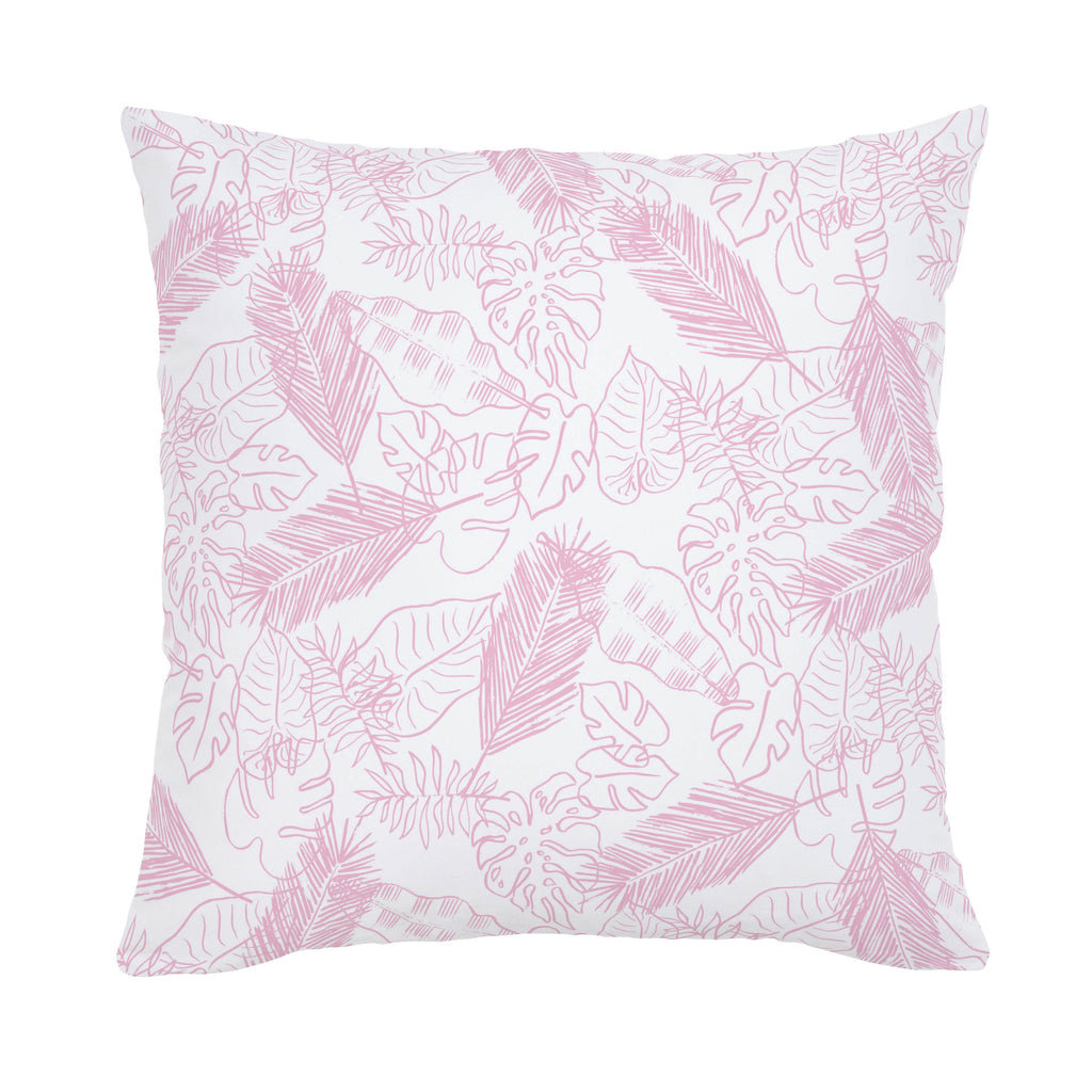 Product image for Bubblegum Palm Leaves Throw Pillow