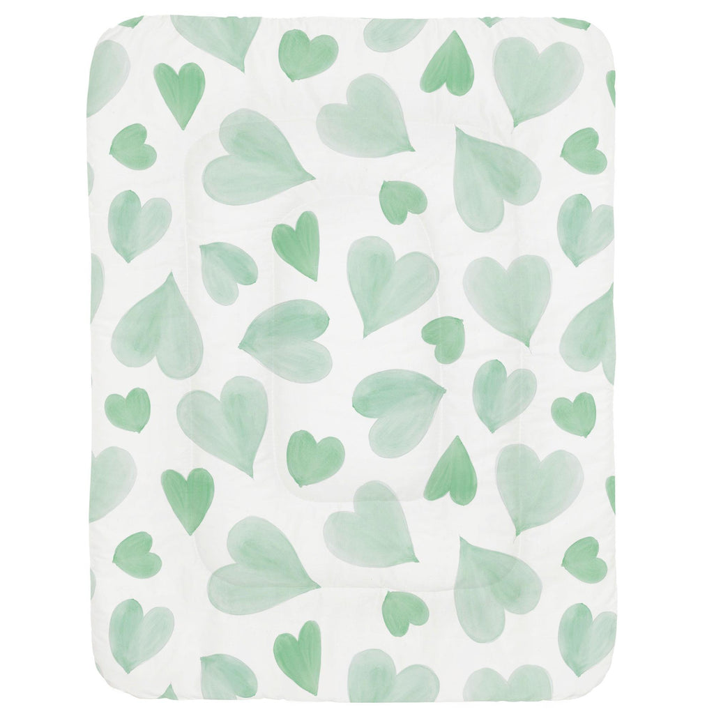 Product image for Mint Watercolor Hearts Crib Comforter