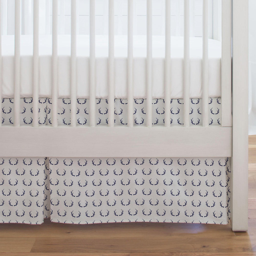 Product image for Windsor Navy Antlers Crib Skirt Single-Pleat