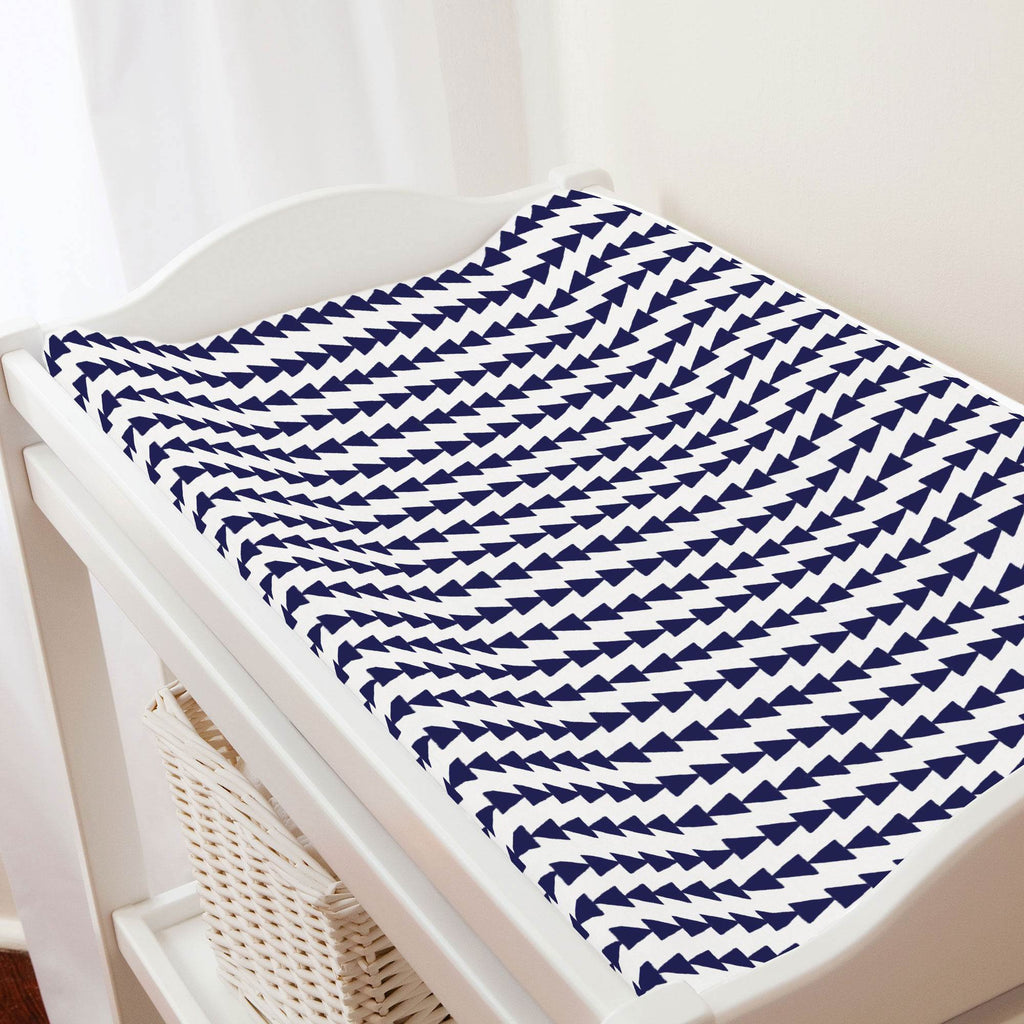 Product image for Windsor Navy Arrow Stripe Changing Pad Cover