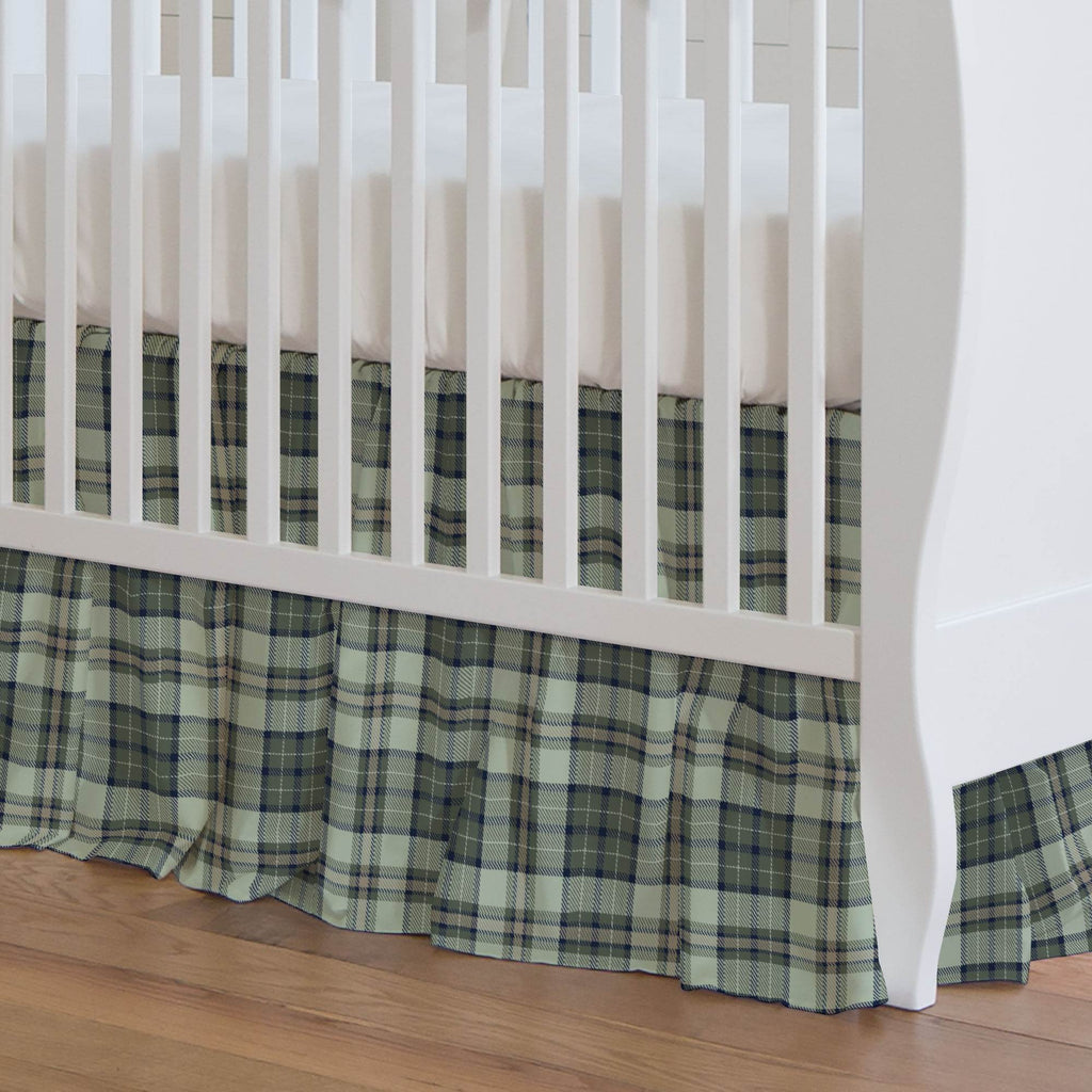 Product image for Navy and Seafoam Plaid Crib Skirt Gathered
