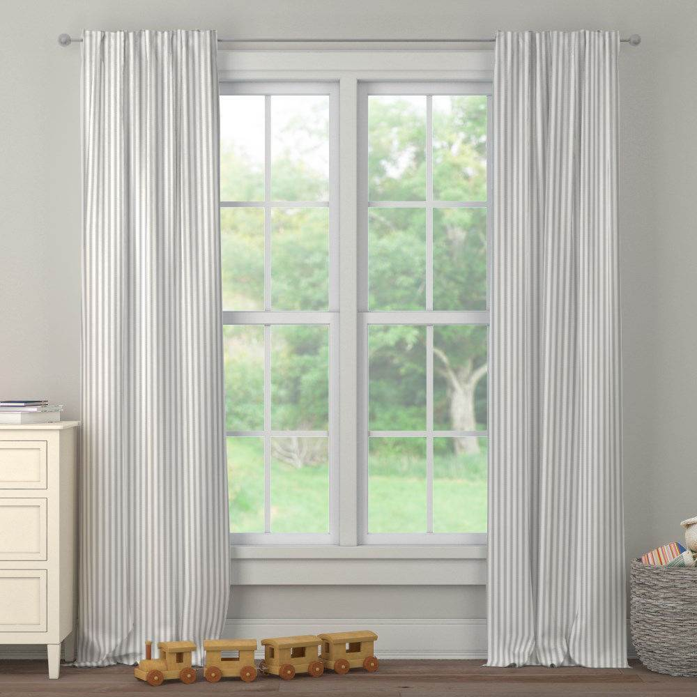 Product image for Cloud Gray Ticking Stripe Drape Panel
