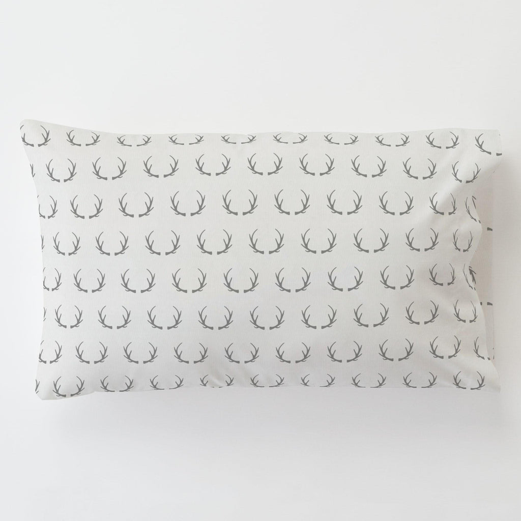 Product image for Silver Gray Antlers Toddler Pillow Case with Pillow Insert