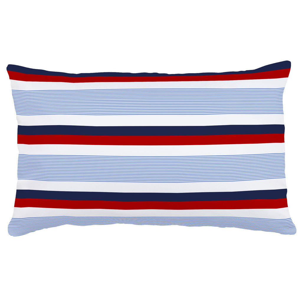 Product image for Red and Blue Stripe Lumbar Pillow