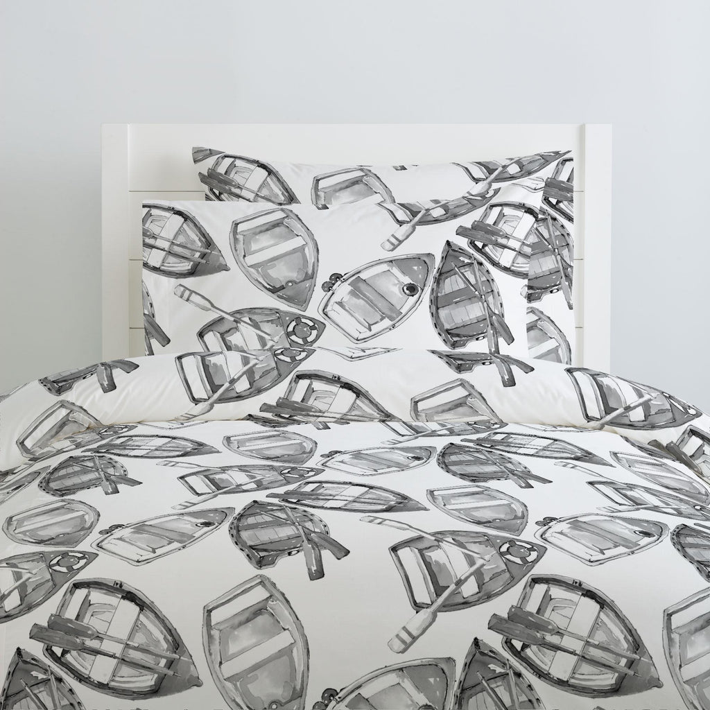 Product image for Gray Watercolor Boats Duvet Cover