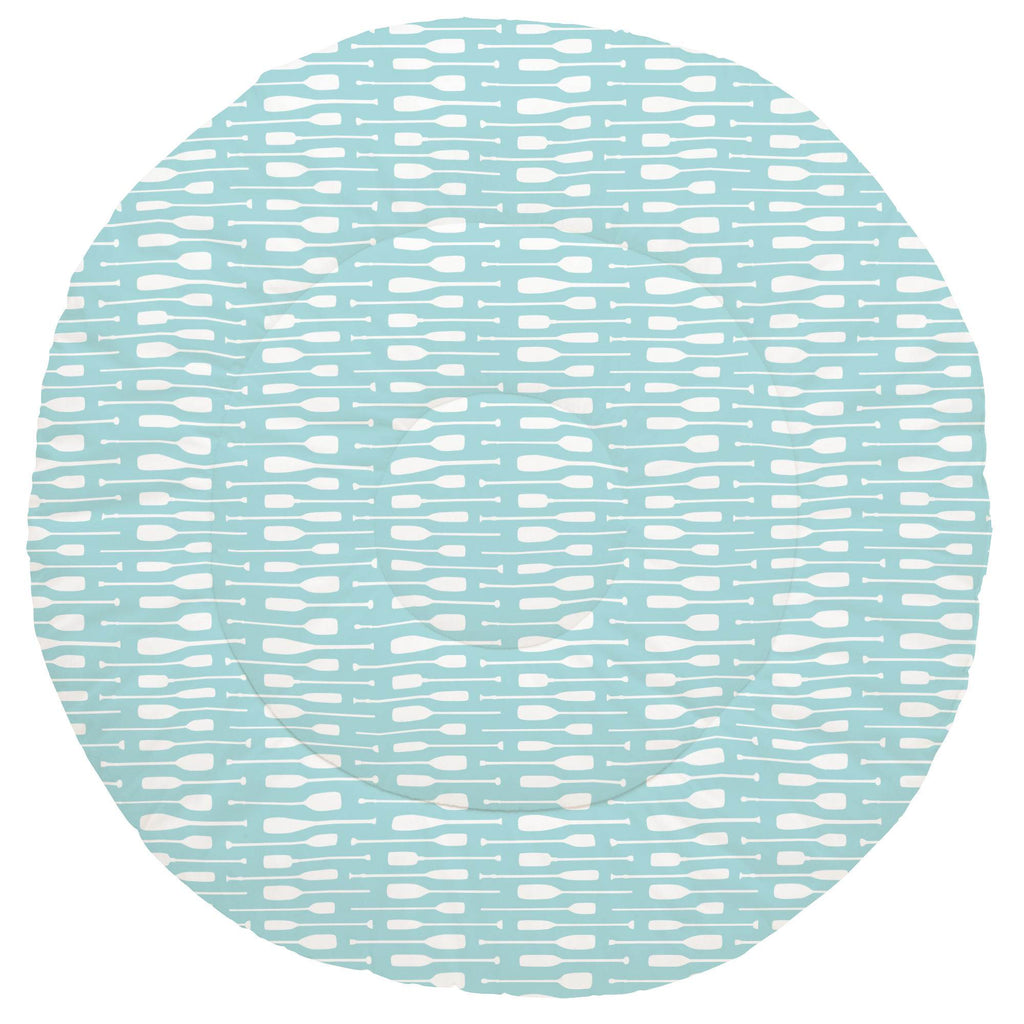 Product image for Seafoam Aqua and White Oars Baby Play Mat