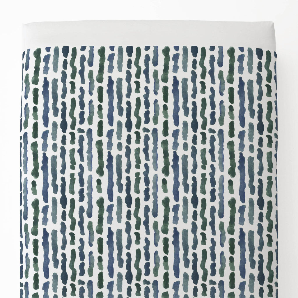 Product image for Sea Green Stripe Toddler Sheet Top Flat