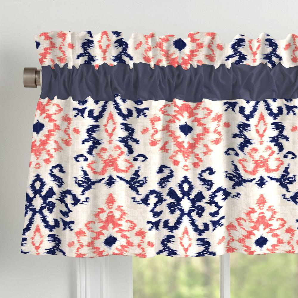 Product image for Navy and Coral Ikat Damask Window Valance