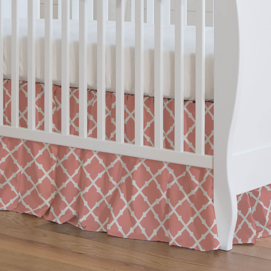 Product image for Light Coral Lattice Crib Skirt Gathered
