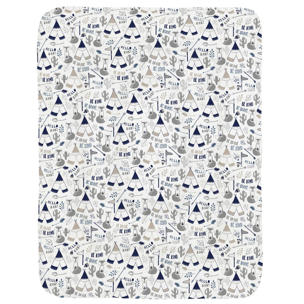 Product image for Navy Brave Fox Crib Comforter