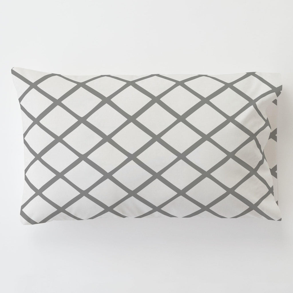 Product image for Cloud Gray Trellis Toddler Pillow Case with Pillow Insert