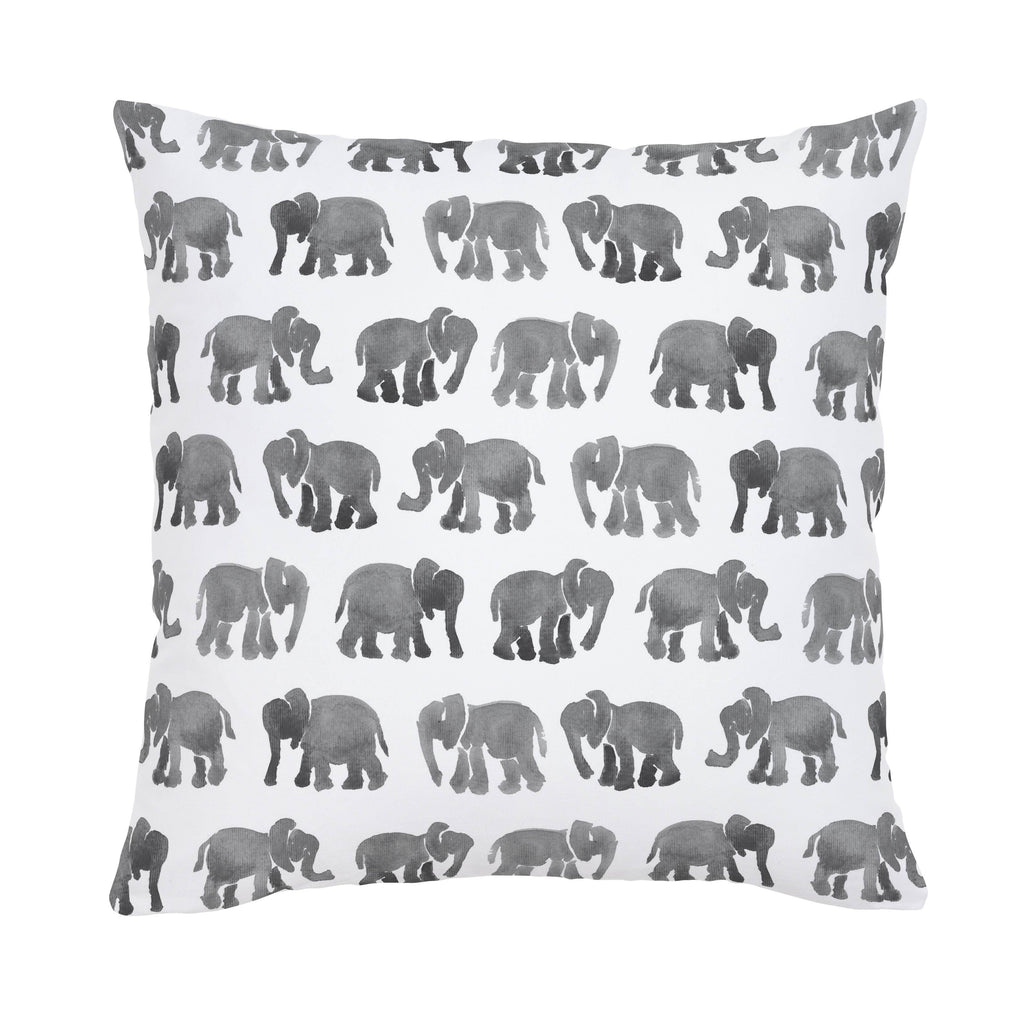 Product image for Gray Watercolor Elephants Throw Pillow