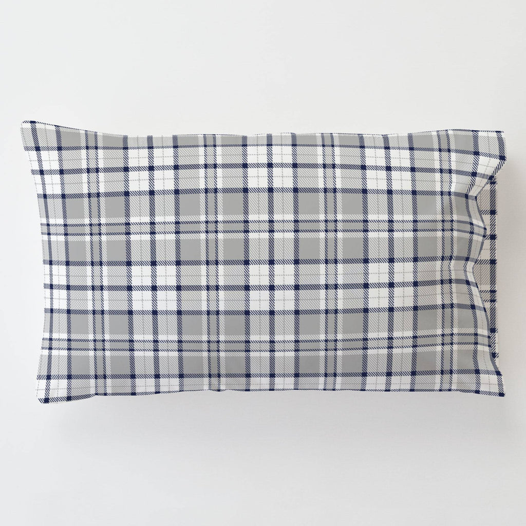 Product image for Navy and Gray Plaid Toddler Pillow Case with Pillow Insert
