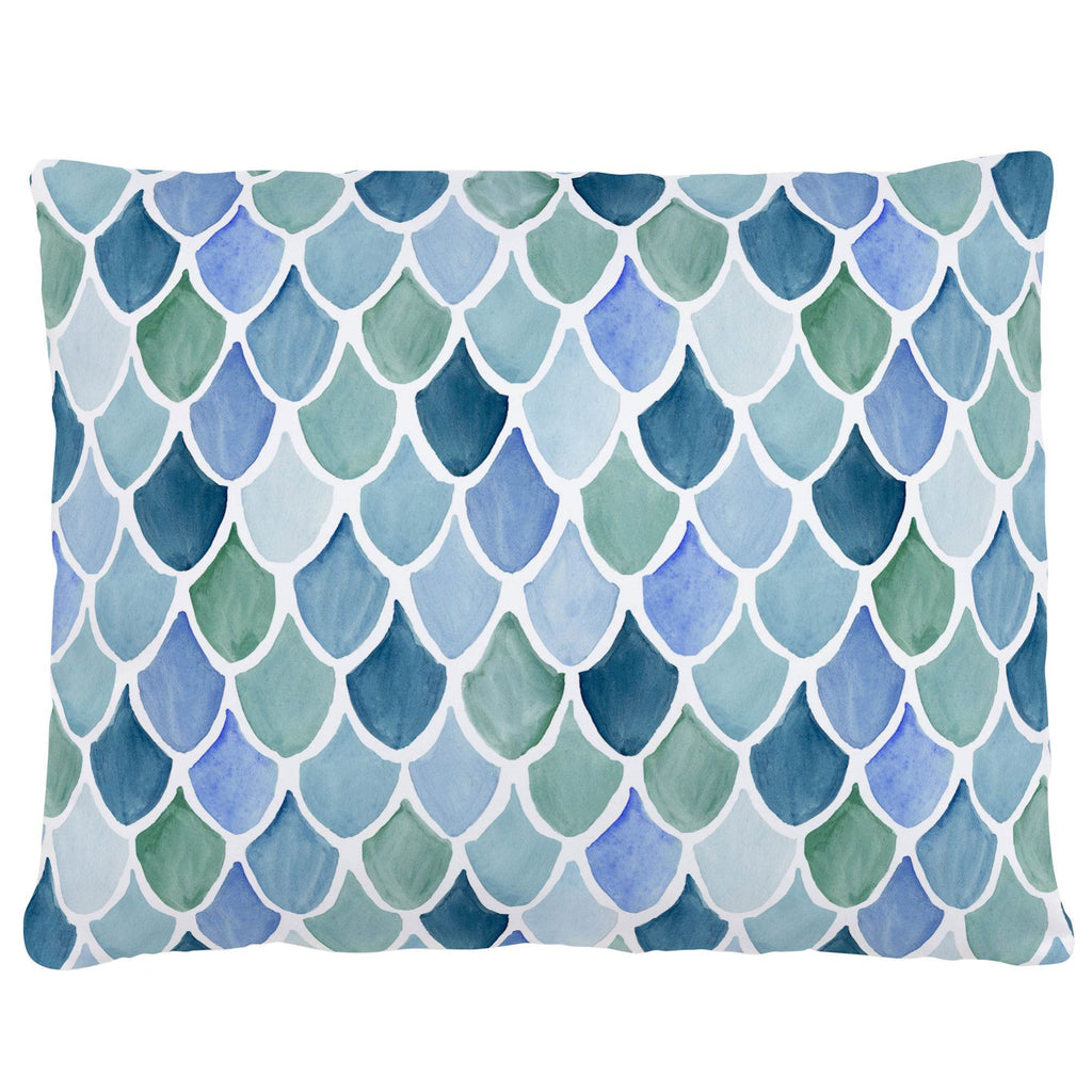 Product image for Blue Watercolor Scales Accent Pillow