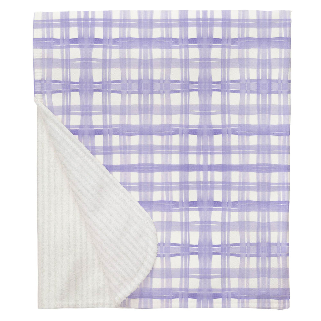 Product image for Lilac Watercolor Plaid Baby Blanket