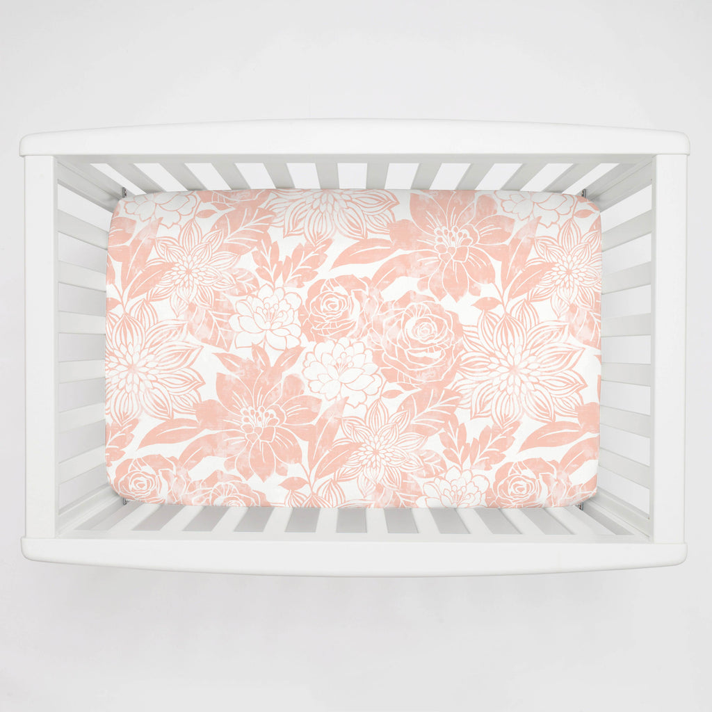 Product image for Peach Modern Blooms Mini Crib Sheet