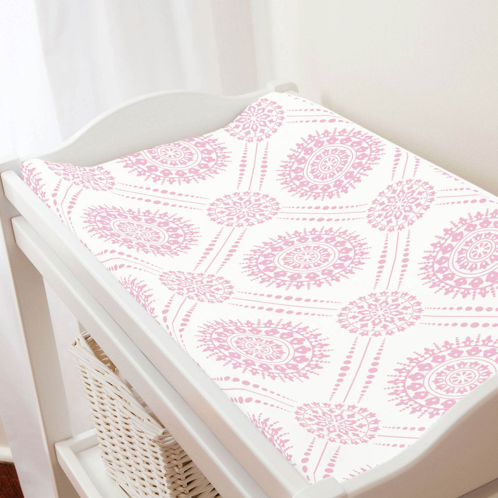 Product image for Bubblegum Pink Modern Medallion Changing Pad Cover