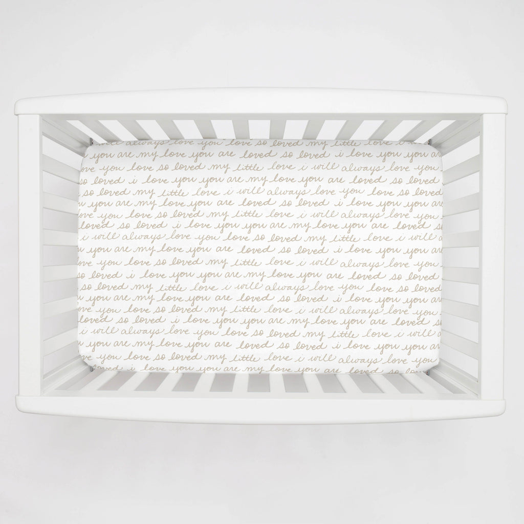 Product image for Taupe Love Words Mini Crib Sheet