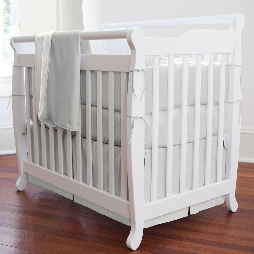 Product image for Solid Silver Gray Mini Crib Skirt