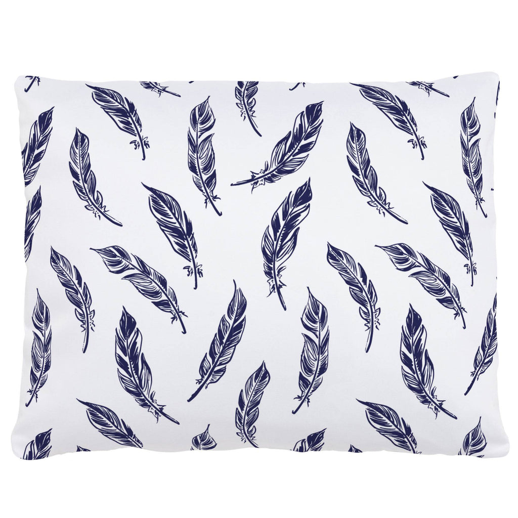 Product image for Navy Hand Drawn Feathers Accent Pillow