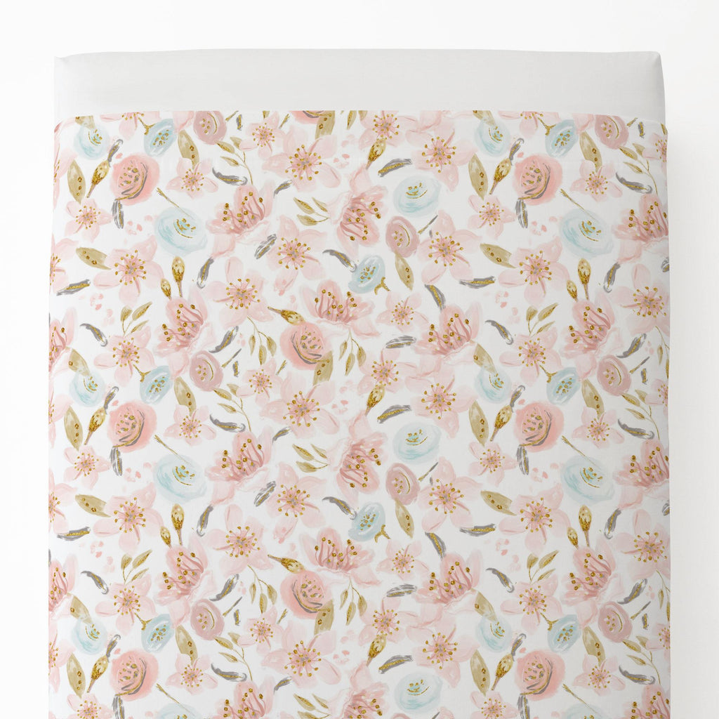 Product image for Pink Hawaiian Floral Toddler Sheet Top Flat