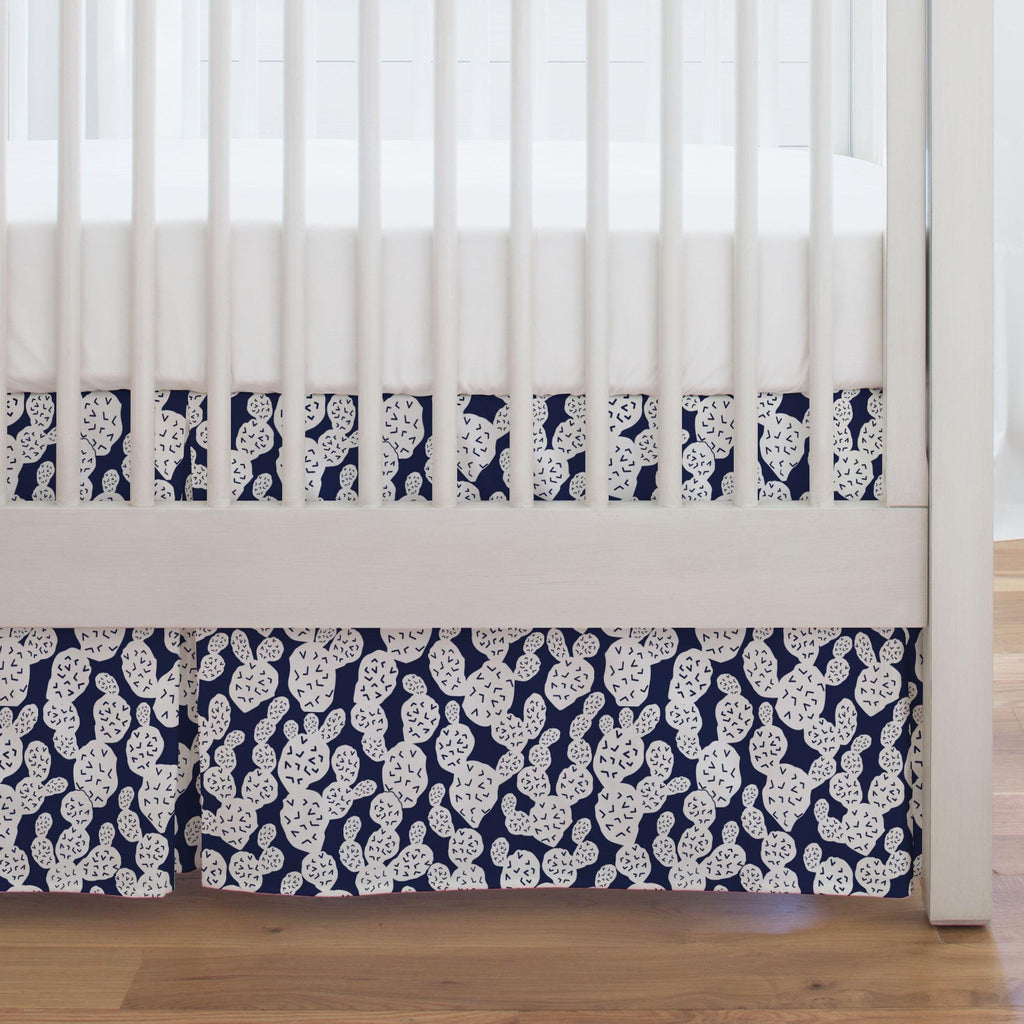 Product image for Navy Prickly Pear Crib Skirt Single-Pleat