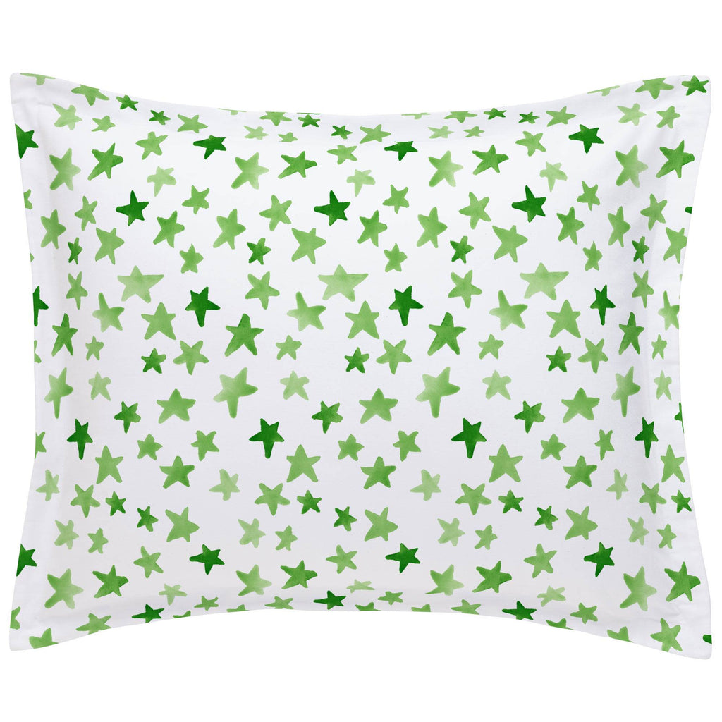 Product image for Green Watercolor Stars Pillow Sham
