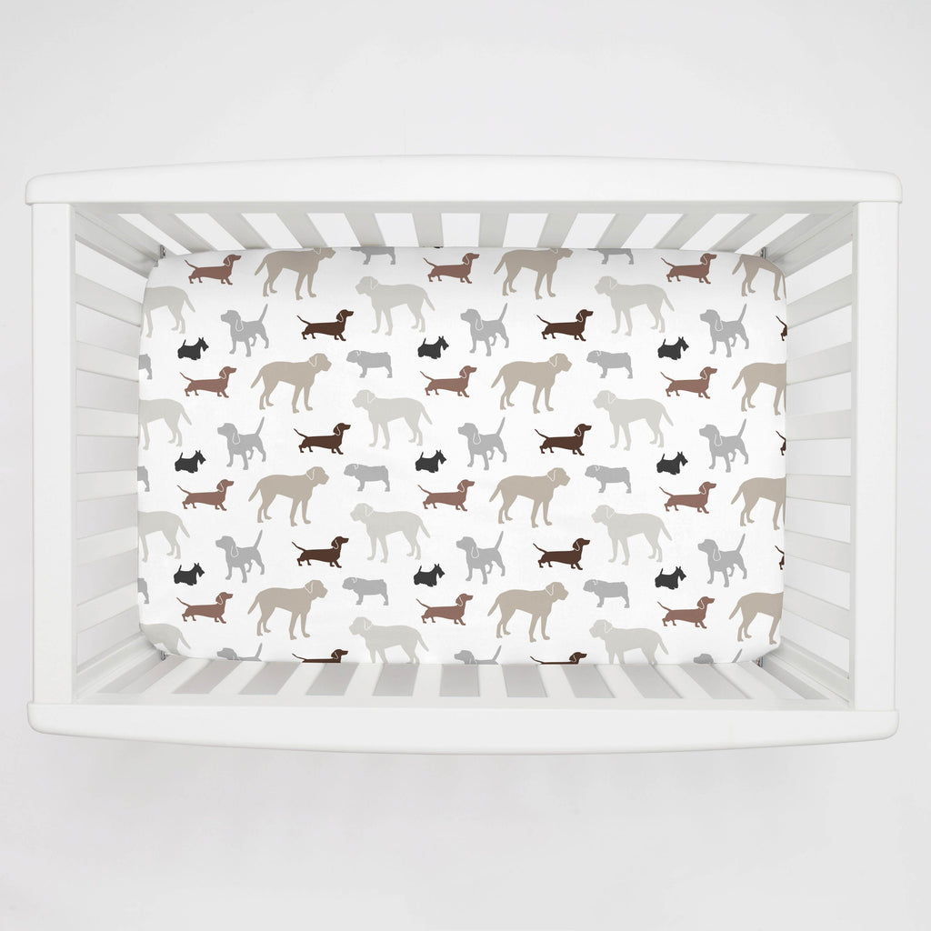 Product image for Brown and Gray Dogs Mini Crib Sheet