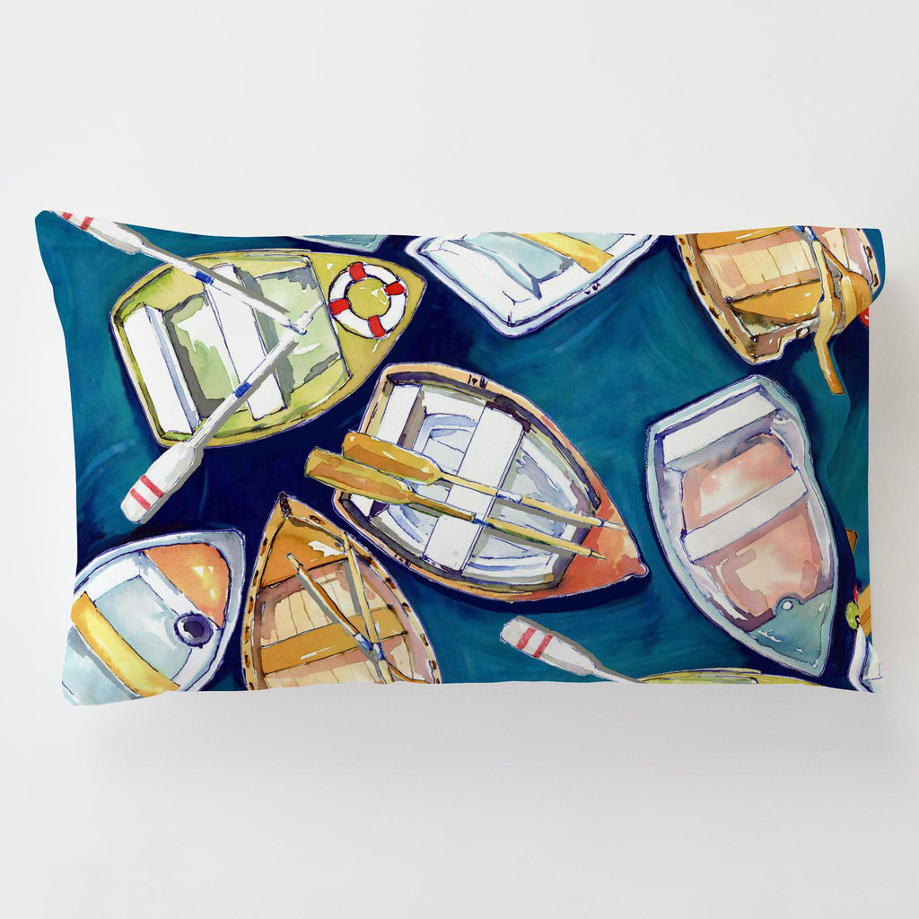 Product image for Blue Watercolor Boats Toddler Pillow Case with Pillow Insert