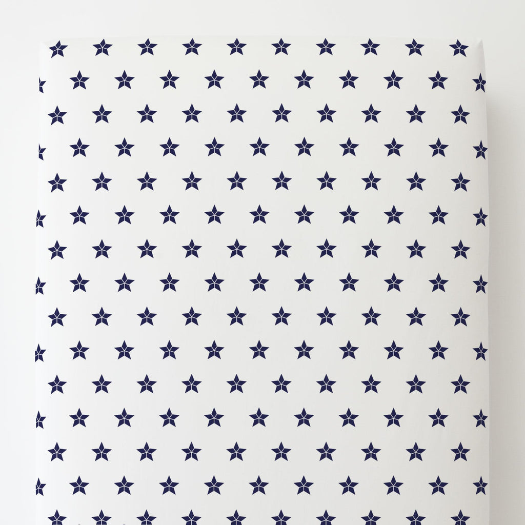 Product image for Navy Mosaic Stars Toddler Sheet Bottom Fitted