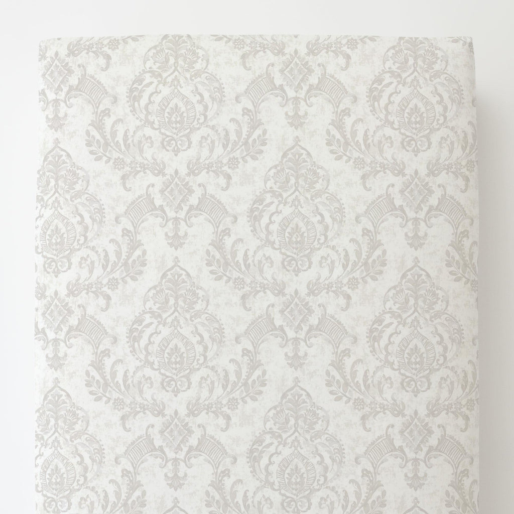 Product image for French Gray Painted Damask Toddler Sheet Bottom Fitted