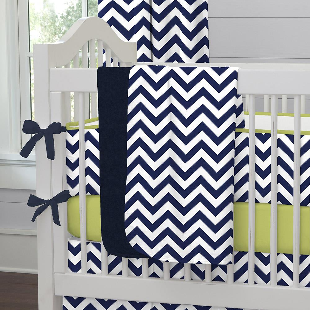 Product image for White and Navy Zig Zag Baby Blanket