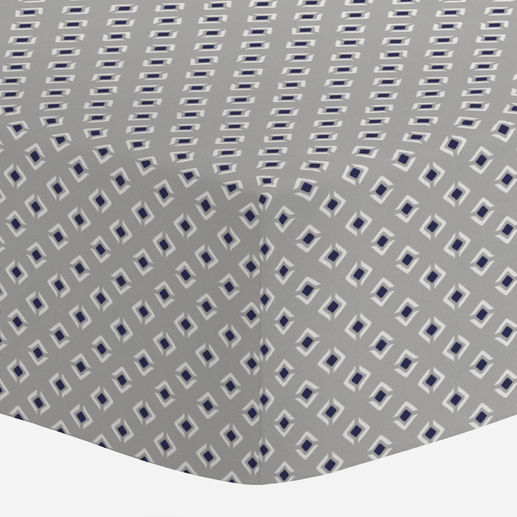 Product image for Silver Gray and Navy Diamond Crib Sheet