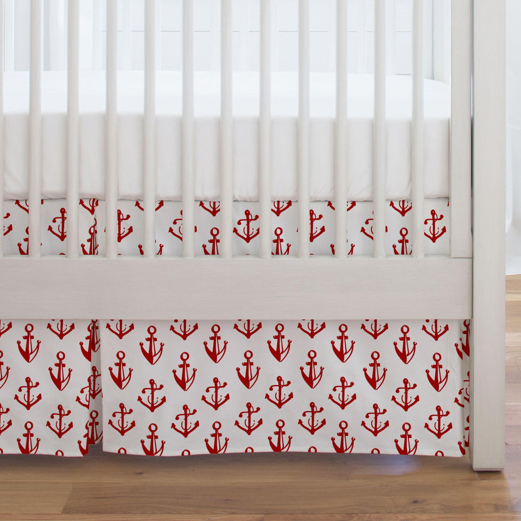 Product image for Red Anchors Crib Skirt Single-Pleat